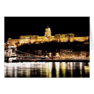 Budapest At Night Art Card