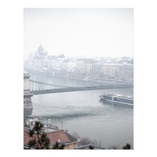 Budapest bridge over danube river picture letterhead