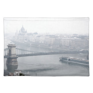 Budapest bridge over danube river picture placemat
