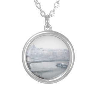 Budapest bridge over danube river picture silver plated necklace