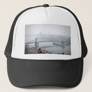 Budapest bridge over danube river picture trucker hat