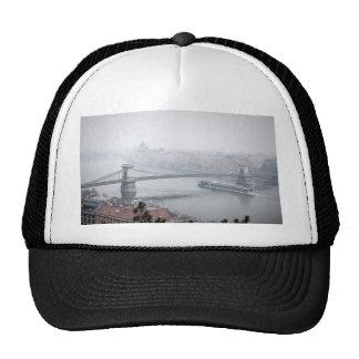 Budapest bridge over danube river picture trucker hat