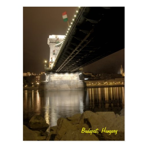 budapest chain bridge at night postcard
