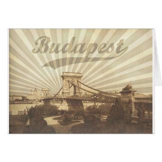 Budapest Chain Bridge Vintage Card