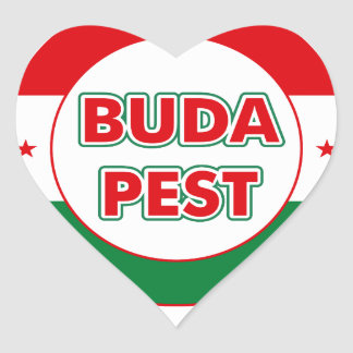 Budapest, circle, color heart sticker