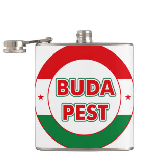 Budapest, circle, color hip flask
