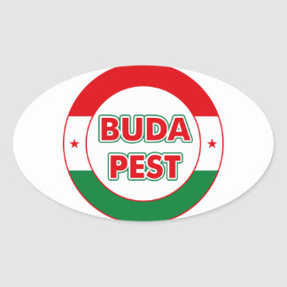Budapest, circle, color oval sticker