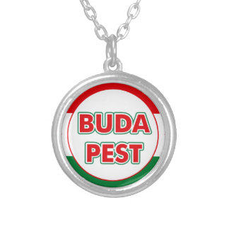 Budapest, circle, color silver plated necklace