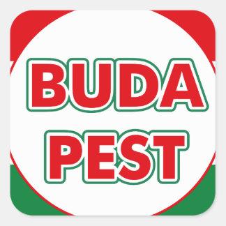 Budapest, circle, color square sticker