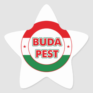Budapest, circle, color star sticker