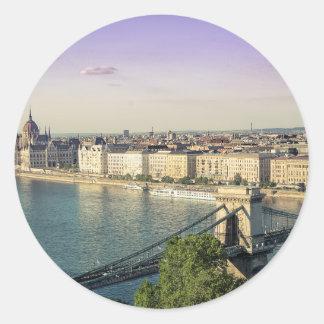 Budapest cityscape classic round sticker