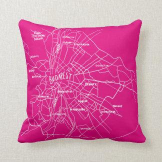 Budapest Hungary Map Throw Pillow