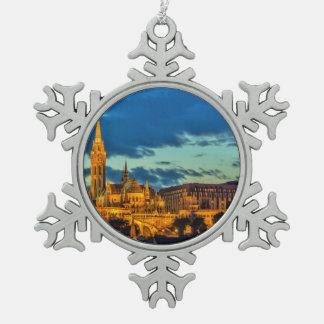 Budapest, Hungary Snowflake Pewter Christmas Ornament
