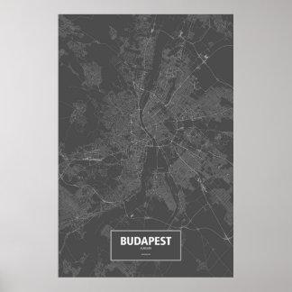 Budapest, Hungary (white on black) Poster