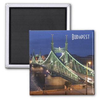 Budapest - Liberty Bridge by night Square Magnet