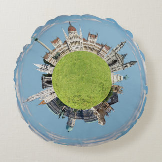 budapest little tiny planet travel tourism hungary round pillow