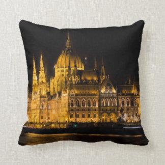 Budapest Parliament At Night Throw Pillow