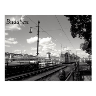 Budapest Postcard. Tram, Chain Bridge and Danube Postcard