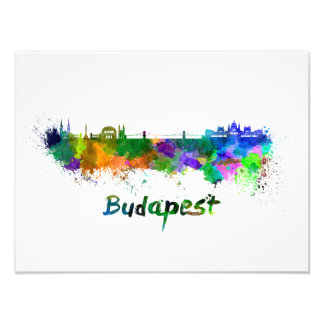 Budapest skyline in watercolor art photo