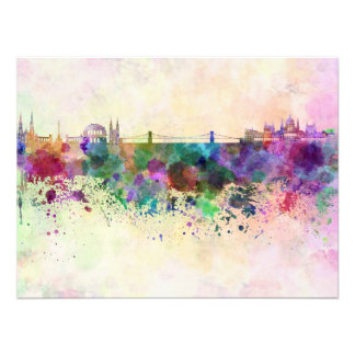 Budapest skyline in watercolor background photograph