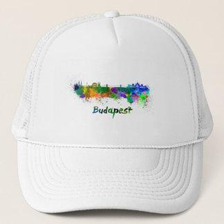 Budapest skyline in watercolor trucker hat