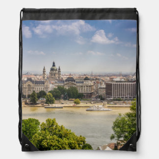 Budapest Summer Cityscape, Hungary Travel Photo Drawstring Bag