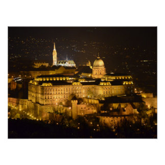 Budapest, The Royal Palace (Buda Castle) at night Poster