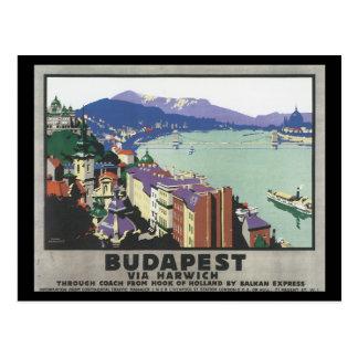 Budapest via Harwich_Vintage Travel Poster Postcard