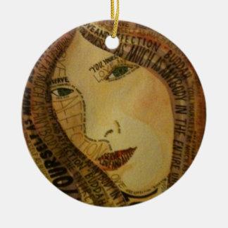 Buddah quote round ceramic ornament