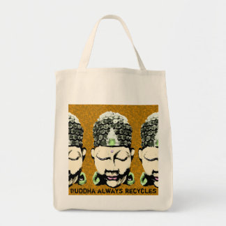 Buddha always recycles tote bag