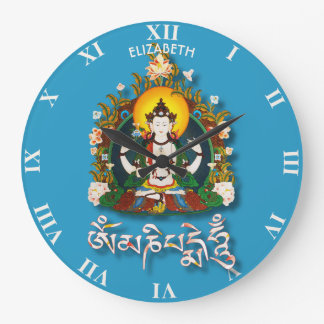 Buddha Amitabha Om Mani Padme Hum Tibetan Large Clock