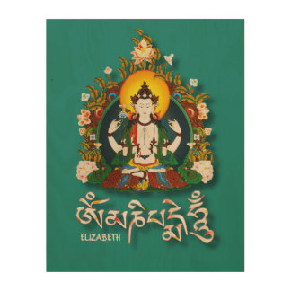 Buddha Amitabha Om Mani Padme Hum Tibetan Wood Wall Decor