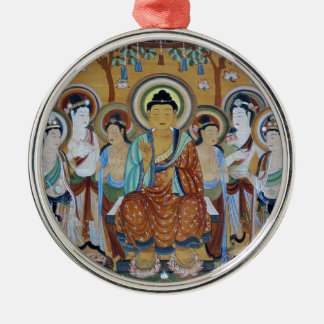 Buddha and Bodhisattvas Dunhuang Mogao Caves Art Silver-Colored Round Ornament