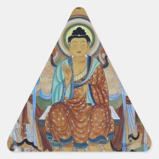 Buddha and Bodhisattvas Dunhuang Mogao Caves Art Triangle Sticker