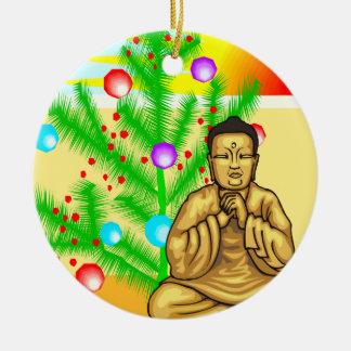 Buddha and Christmas tree Ceramic Ornament