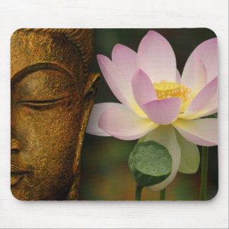 Buddha and flower mouse pad