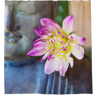 Buddha and pink dahlia shower curtain