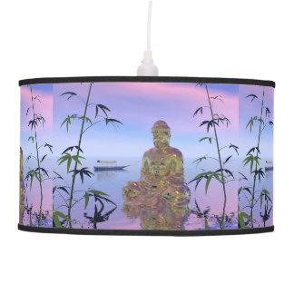 buddha and sky blue hanging lamp