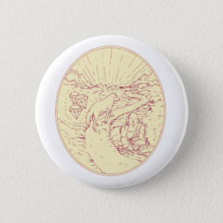 Buddha and Wolf on Road Diamonds Drawing 2 Inch Round Button