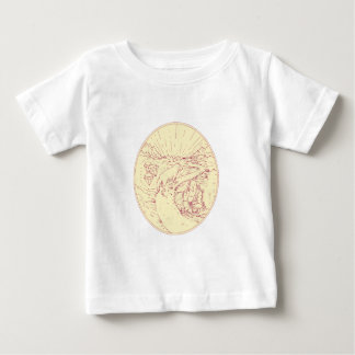 Buddha and Wolf on Road Diamonds Drawing Baby T-Shirt