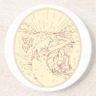Buddha and Wolf on Road Diamonds Drawing Coaster