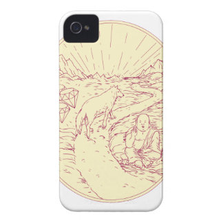 Buddha and Wolf on Road Diamonds Drawing iPhone 4 Cover
