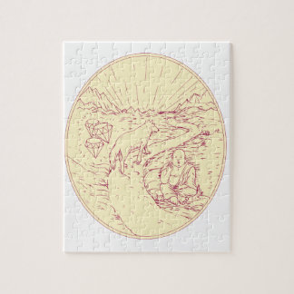 Buddha and Wolf on Road Diamonds Drawing Jigsaw Puzzle