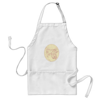 Buddha and Wolf on Road Diamonds Drawing Standard Apron