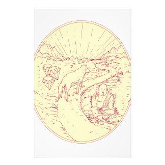 Buddha and Wolf on Road Diamonds Drawing Stationery
