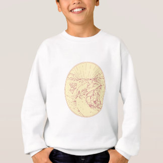 Buddha and Wolf on Road Diamonds Drawing Sweatshirt