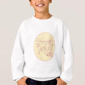 Buddha and Wolf on Road Diamonds Drawing Sweatshirt