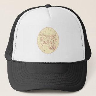 Buddha and Wolf on Road Diamonds Drawing Trucker Hat