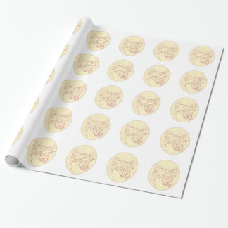 Buddha and Wolf on Road Diamonds Drawing Wrapping Paper