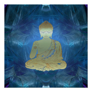 Buddha applied (blue) poster